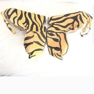 Zara Tiger Print Fur Wedges